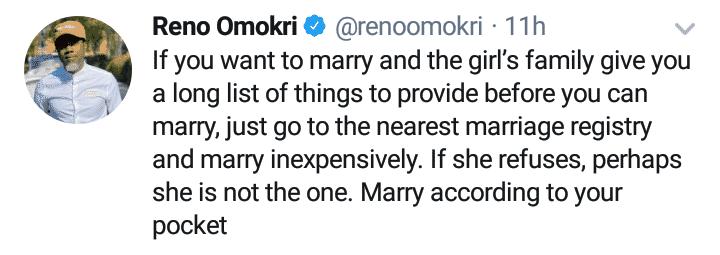 Reno Omokri advises men
