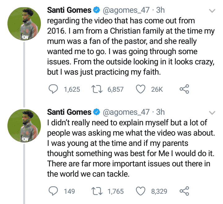 Angel Gomes reacts to viral video