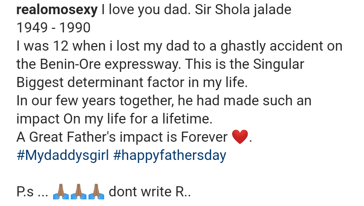 Omotola Makes Revelation About Father's Death