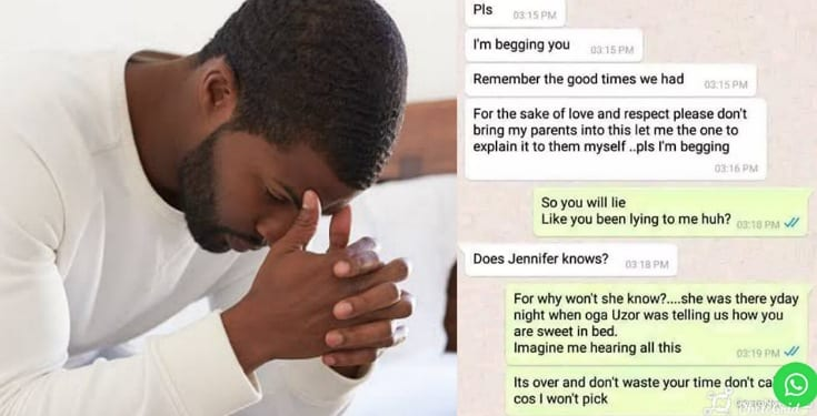 Heartbroken man shares screenshot of his chat with his unfaithful fiancee