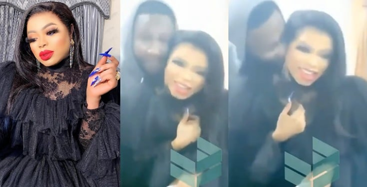 Bobrisky all smiles as male fan kisses him at a party