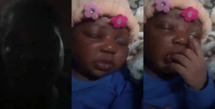 Lady cries out as nursing mother leaves her baby with her and disappears