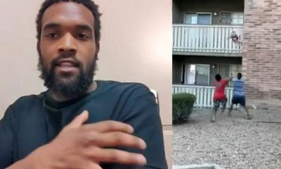 Man catches 3-year-old boy dropped from a burning third-floor apartment (video)