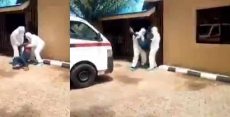 'Na Ogun go kill una' - Man fights NCDC officers who tried to take him to an Isolation center (video)