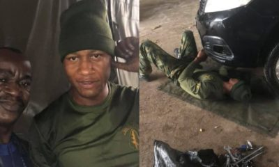 Nigerian man appreciates soldier who helped him when he was stranded in the rain (photos)