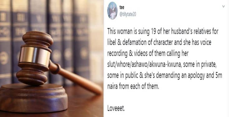 Nigerian woman sues 19 of her husband's relatives for libel and defamation of character