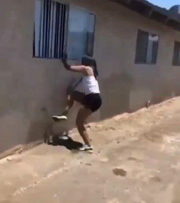 Side chick escapes through window
