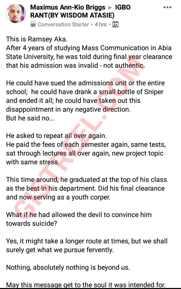 Man repeats after graduation