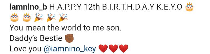 Nino B celebrates his only son