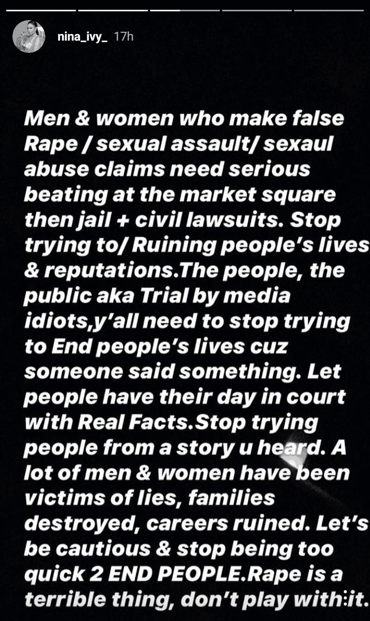 Nina Ivy blasts false rape accusers