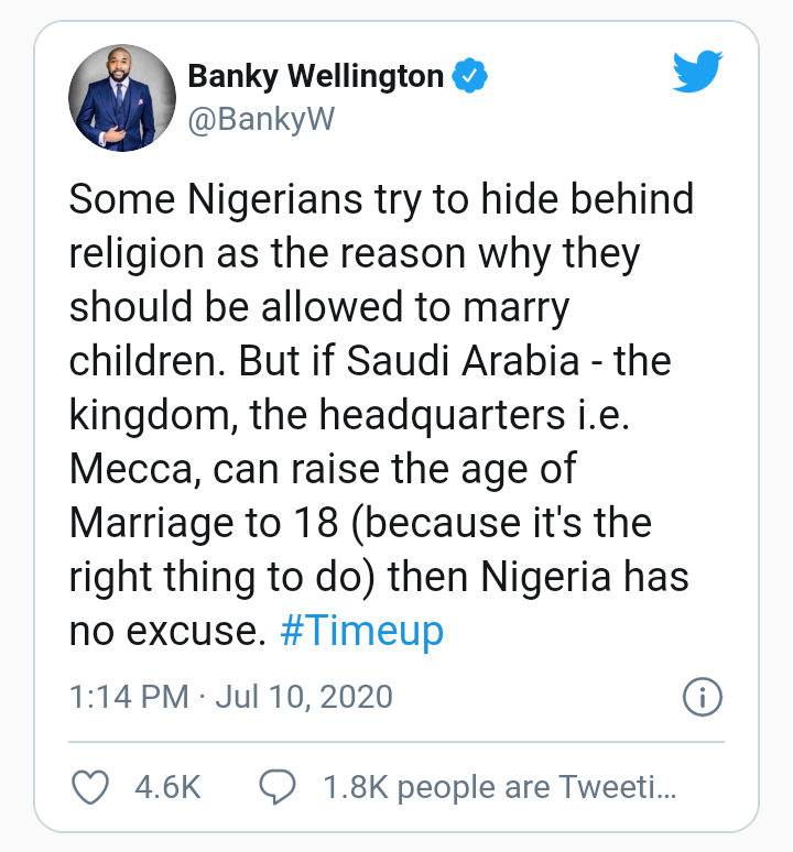 Banky W kicks against early child marriage in Nigeria