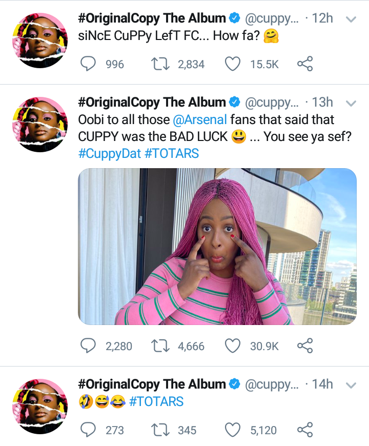 DJ Cuppy mocks Arsenal after losing 2-1 to Tottenham, DJ Cuppy mocks Arsenal after losing 2-1 to Tottenham, Latest Nigeria News, Daily Devotionals & Celebrity Gossips - Chidispalace