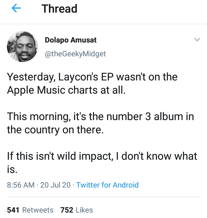 Laycon's album rises to No.3 on Apple Music