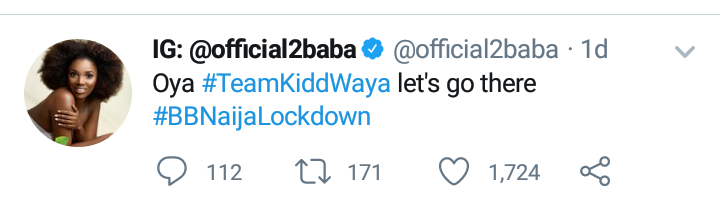2Baba roots for Kiddwaya