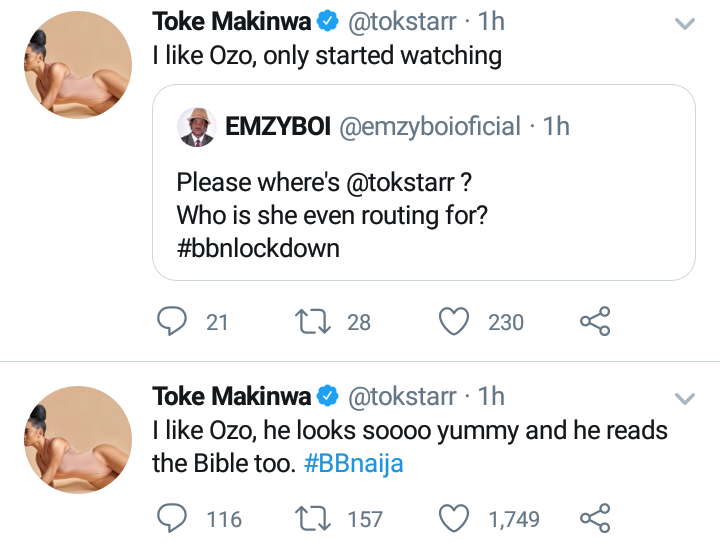 Toke Makinwa declares support for Ozo