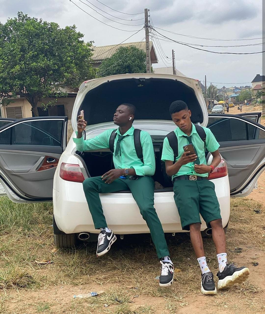 SS3 Boys resume school with iPhone and Benz after making money during lockdown (Photos/Video)