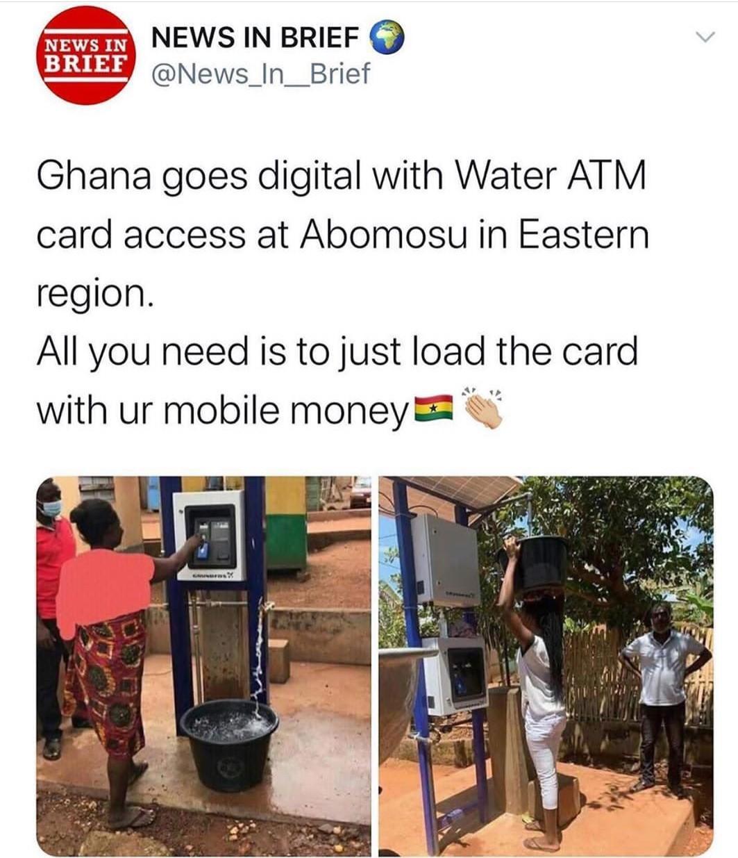 Le Ghana fabrique un distributeur d'eau qui fonctionne avec une carte ATM (photos)