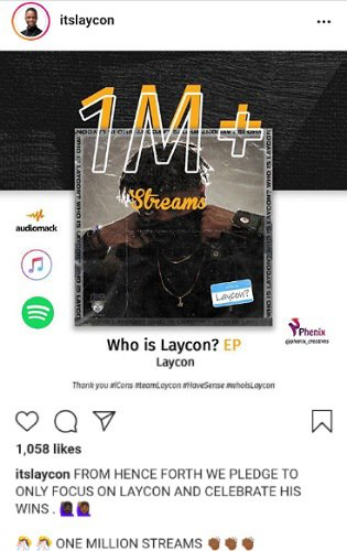 Laycon's EP Hits 1 Million Streams