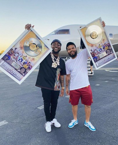 Davido celebrates with Chris Brown