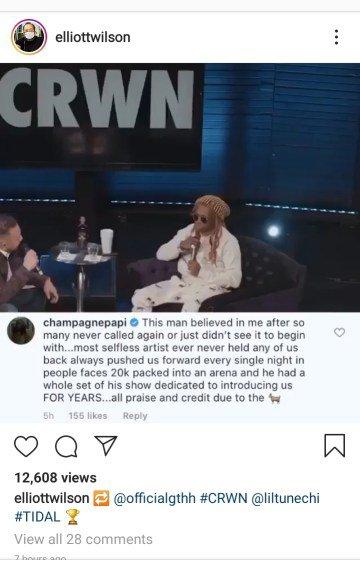 Drake praises Lil Wayne