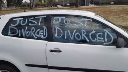 Man in celebration after divorcing his wife