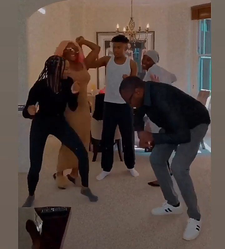 Femi Otedola dances with his children