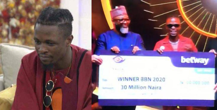 Laycon receives 30 million naira cheque