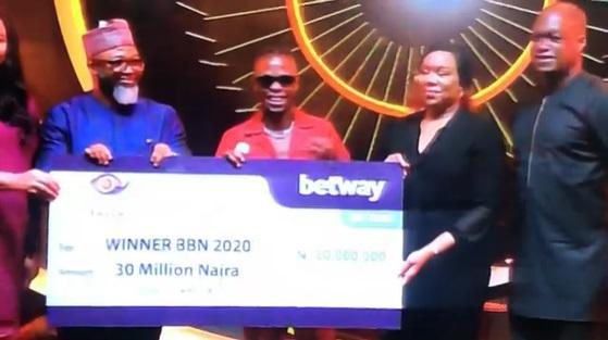 Laycon receives 30 million naira cheque