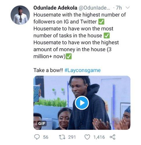 Odunlade Adekola praises Laycon