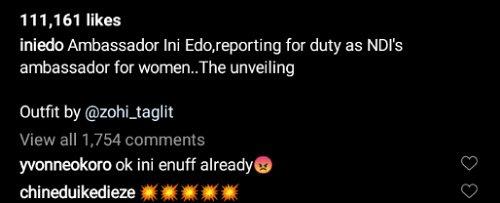 Ini Edo Bags Endorsement