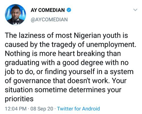 AY says laziness is caused by unemployment
