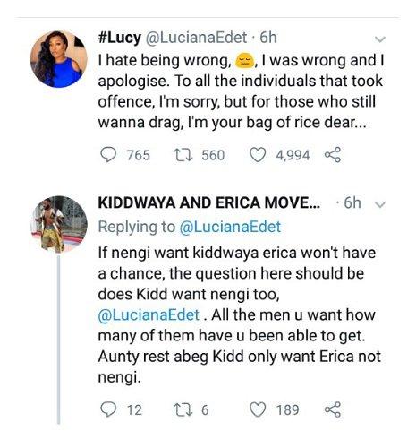 BBNaija's Lucy apologizes