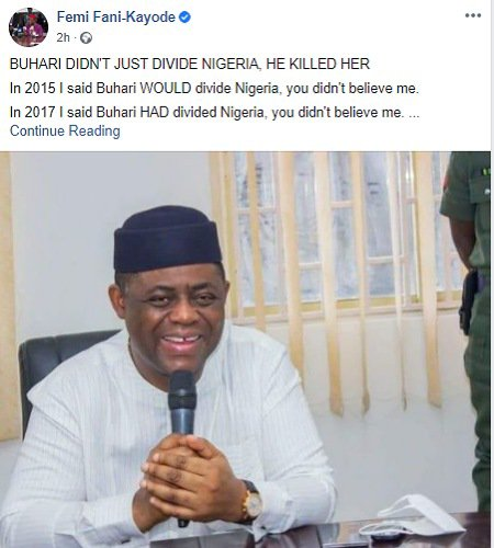 There'll be no Nigeria left by 2023 IF... - Femi Fani-Kayode