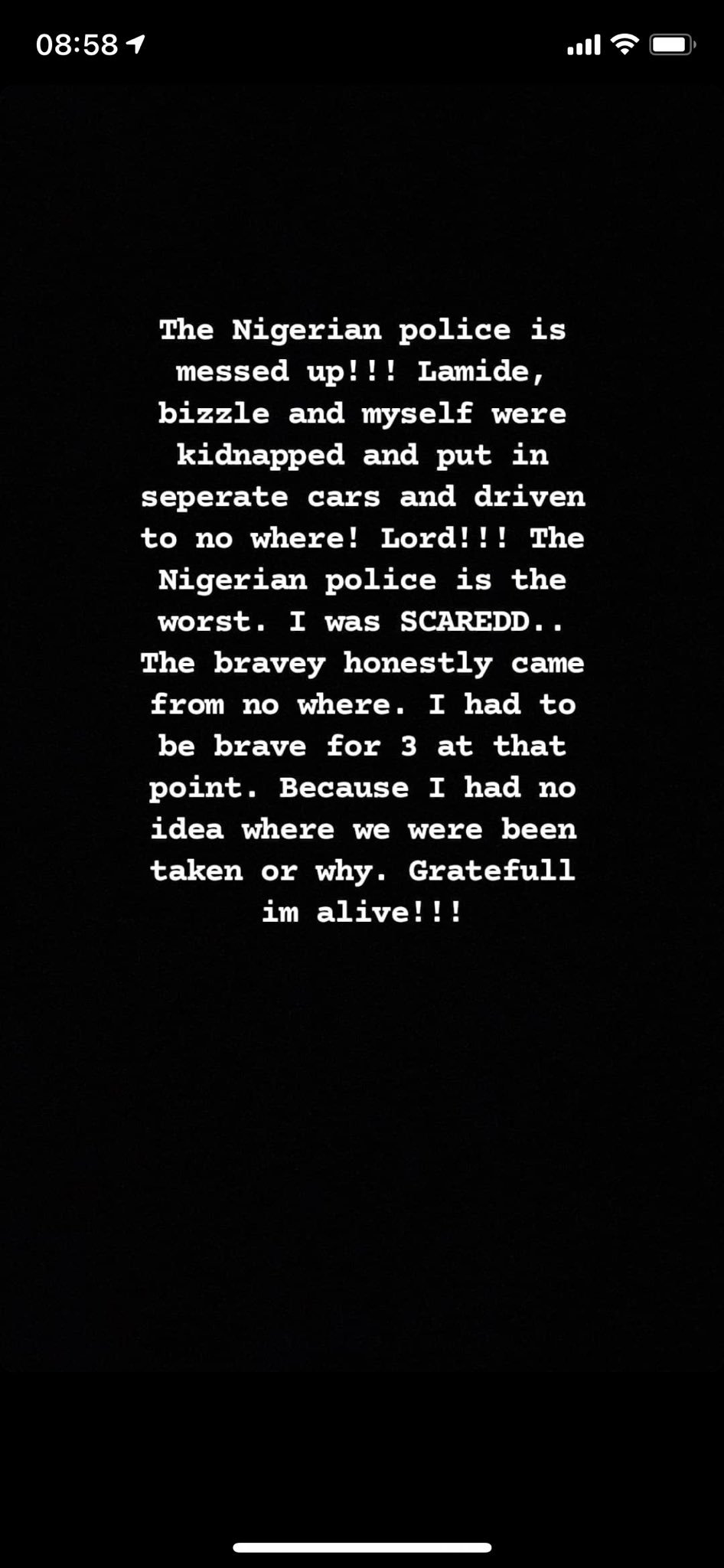 Lady and her friends kidnapped by SARS