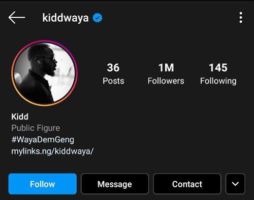 Kiddwaya hit 1 million followers