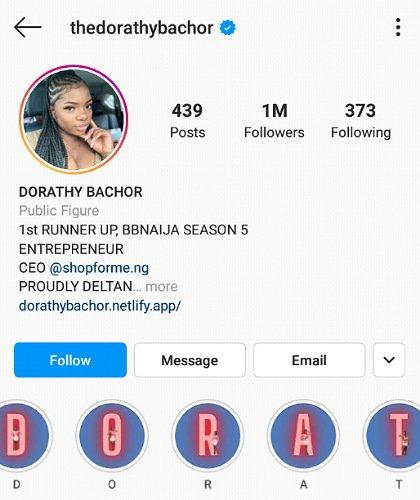 Dorathy Hits 1 Million Followers