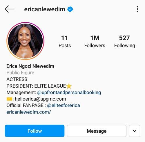 Erica Hits 1 Million Followers
