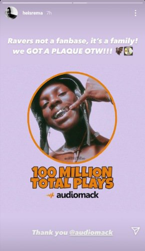 Rema 100 Million Streams On Audiomack