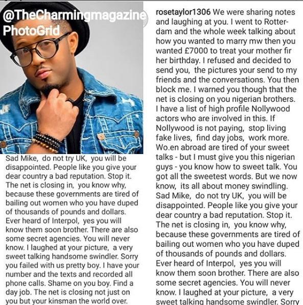 Mike Ezuruonye , romance scam, rose taylor