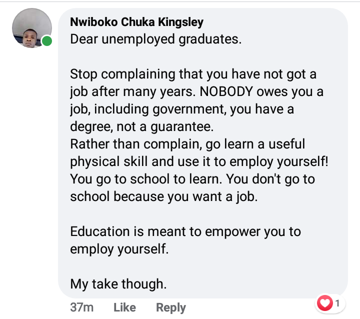 Nobody owes unemployed graduates a job