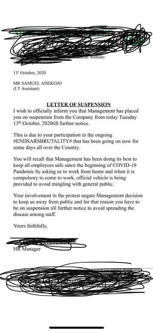Samuel Adekojo Suspended From Work Over Endsars Protest