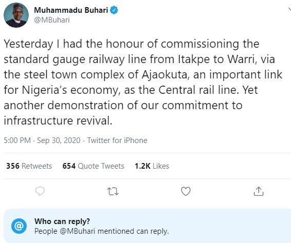 Buhari's tweet with locked comment section