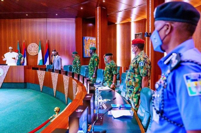 president muhammadu buhari at the National Security Council meeting