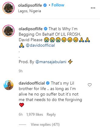 oladips begging davido to take back lil frosh