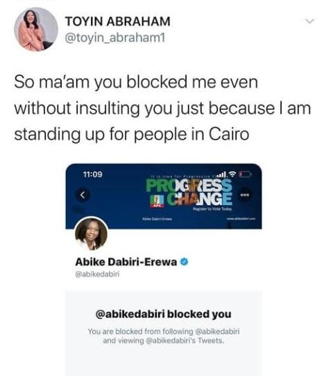 Toyin Abraham Calls Out Abike Dabiri-Erewa For Blocking Her After Requesting Release of Arrested #EndSARS Protesters