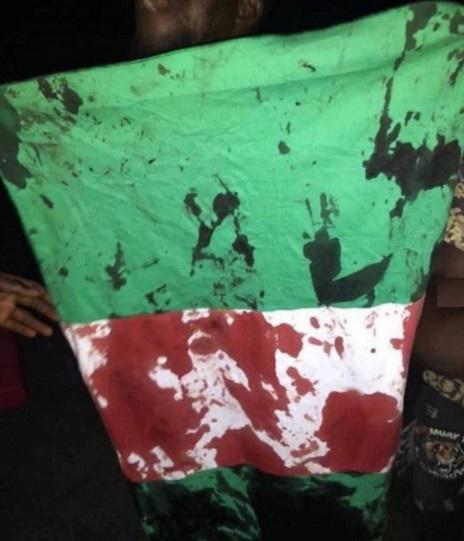 blood stained flag of Nigeria, #endsars protest, lekki massacre