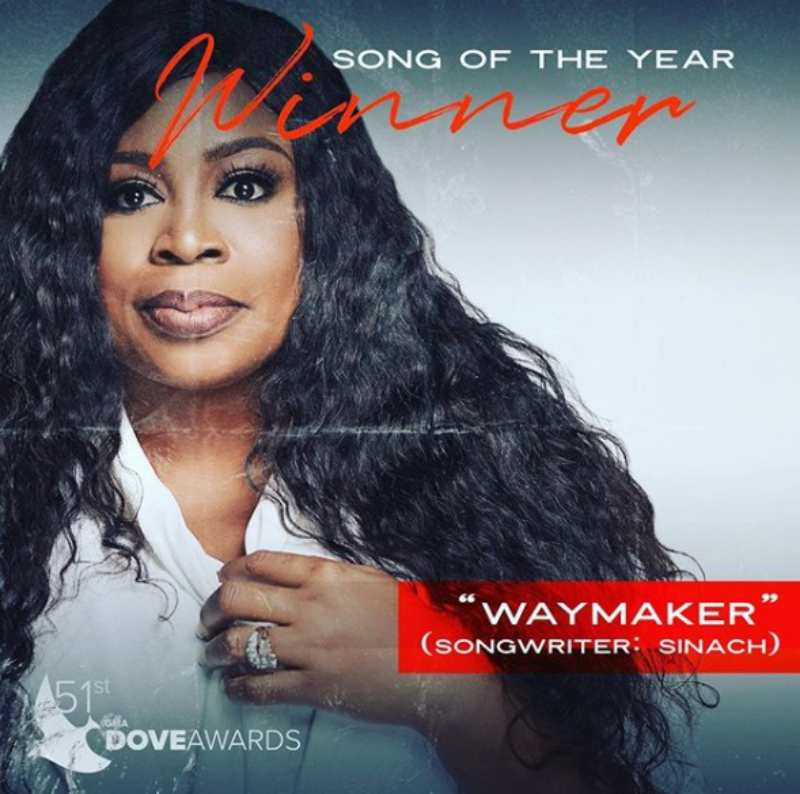 Dove Awards 2020: Sinach Way Maker song Of The Year