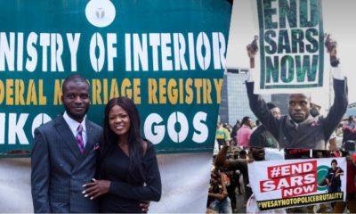 Man Joins #EndSARs Protest After His Court Wedding