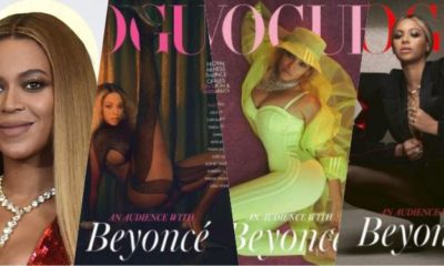 Beyonce fronts Three cover of December 2020 British Vogue