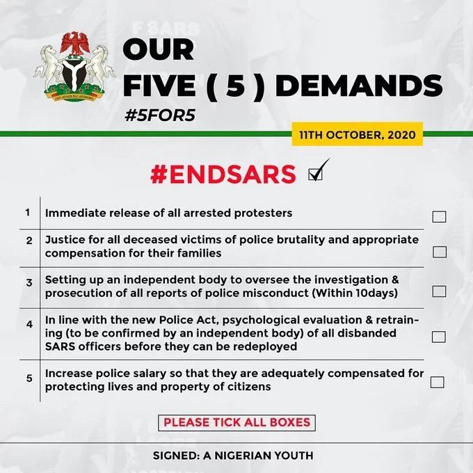 New demands as #EndSARS protests continue